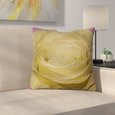 Virgil Flower Throw Pillow Size: 20 H x 20 W x 4 D, Color: Yellow