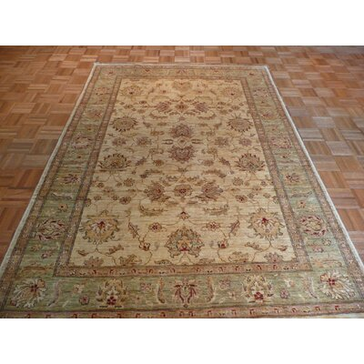 One-of-a-Kind Railsback Oushak Hand-Knotted Wool Ivory/Light Green Area Rug