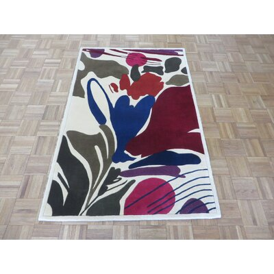 One-of-a-Kind Ziegler Modern Contemporary Hand-Knotted Wool Ivory Area Rug