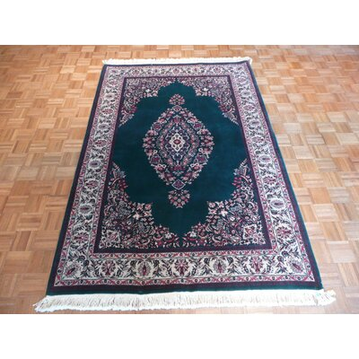 One-of-a-Kind Pellegrino Sarouk Hand-Knotted Wool Green Area Rug