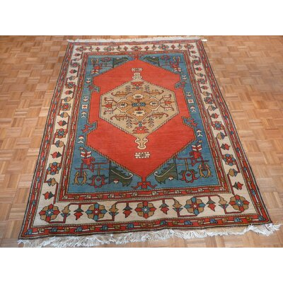 One-of-a-Kind Pellegrino Turkish Serapi Heriz Hand-Knotted Wool Orange/Turkish Area Rug