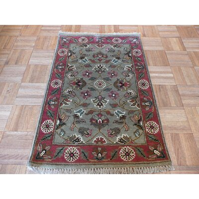 One-of-a-Kind Railey Hand-Knotted Wool Green Area Rug