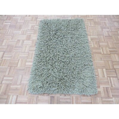 One-of-a-Kind Elbridge Shag Modern Contemporary Hand-Knotted Wool Light Green Area Rug