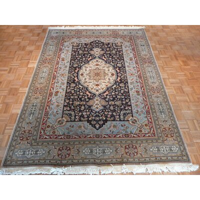 One-of-a-Kind Padro Hand-Knotted Wool Navy Blue Area Rug