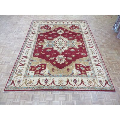 One-of-a-Kind Railsback Serapi Hand-Knotted Wool Red Area Rug