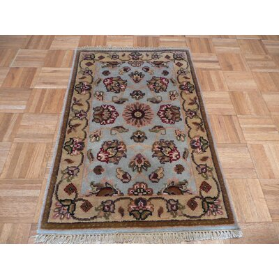 One-of-a-Kind Railey Hand-Knotted Wool Light Blue Area Rug