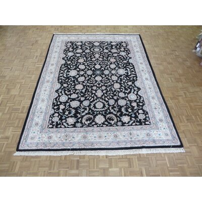 One-of-a-Kind Padro Kashan Hand-Knotted Black Area Rug
