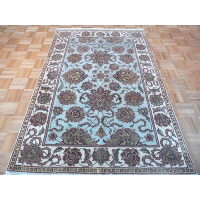 One-of-a-Kind Railey Hand-Knotted Sky Blue Area Rug