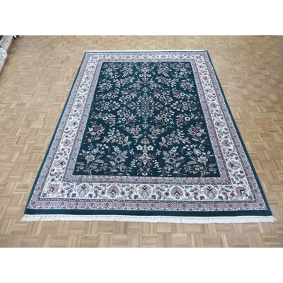 One-of-a-Kind Padro Hand-Knotted Green Area Rug