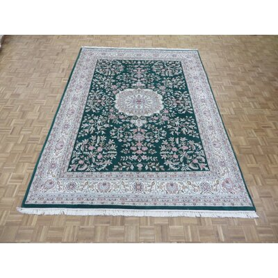 One-of-a-Kind Padro Sarouk Hand-Knotted Wool Green Area Rug