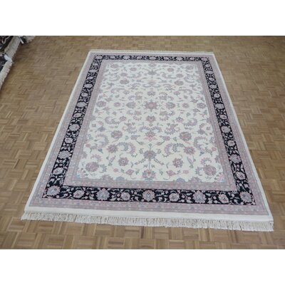 One-of-a-Kind Padro Kashan Hand-Knotted Wool Ivory/Gray Area Rug