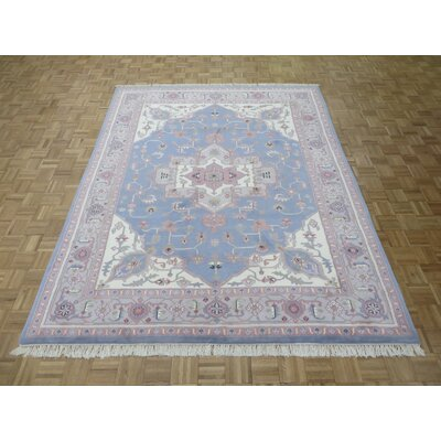 One-of-a-Kind Josephson Serapi Heriz Hand-Knotted Wool Light Blue Area Rug