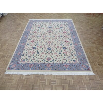One-of-a-Kind Padro Kashan Hand-Knotted Wool Ivory Area Rug