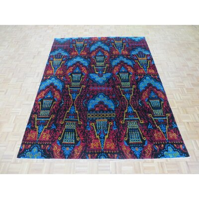 One-of-a-Kind Paez Ikat Hand-Knotted Wool Black Area Rug