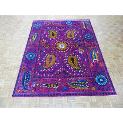 One-of-a-Kind Paez Ikat Hand-Knotted Wool Magenta Area Rug