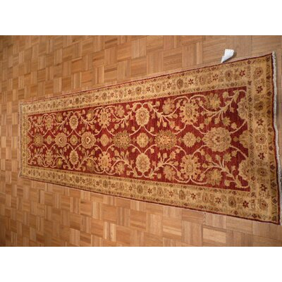 One-of-a-Kind Elbridge Peshawar Hand-Knotted Wool Burgundy Area Rug