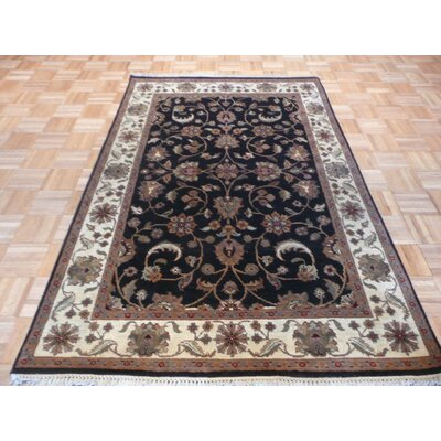 One-of-a-Kind Railey Hand-Knotted Wool Black/Beige Area Rug