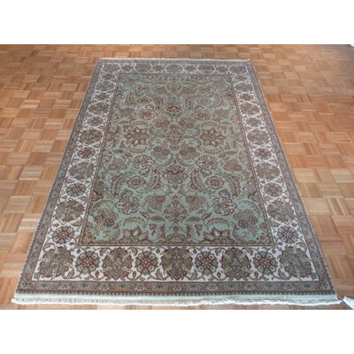 One-of-a-Kind Railey Hand-Knotted Wool Light Green Area Rug