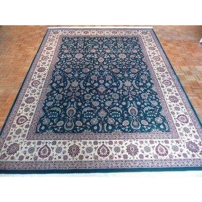 One-of-a-Kind Pellegrino Hand-Knotted Wool Green Area Rug