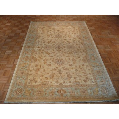 One-of-a-Kind Elbridge Oushak Hand-Knotted Wool Beige/Sky Blue Area Rug