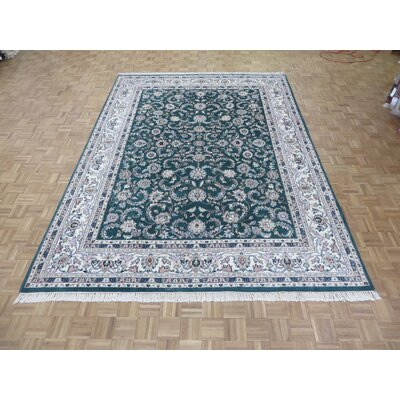 One-of-a-Kind Padro Kashan Hand-Knotted Wool Green Area Rug