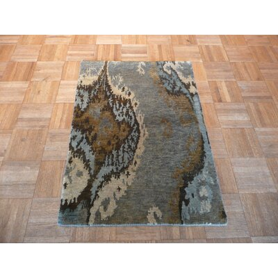 One-of-a-Kind Elbridge Ikat Hand-Knotted Wool Gray Area Rug