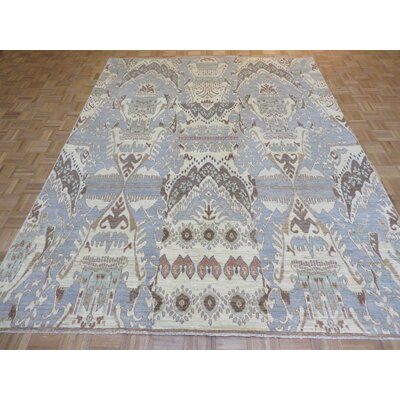 One-of-a-Kind Josephson Ikat Hand-Knotted Wool Sky Blue Area Rug