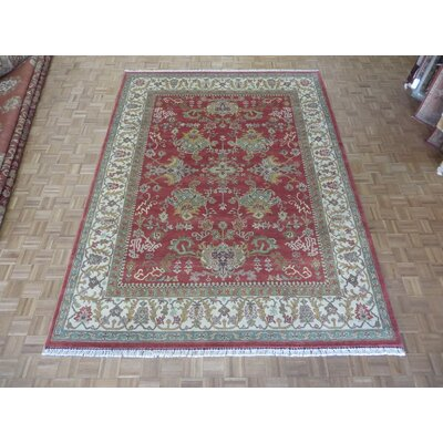 One-of-a-Kind Josephson Agra Oushak Design Oriental Wool Burgundy Area Rug