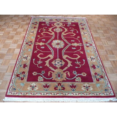 One-of-a-Kind Railsback Hand-Knotted Wool Red/Gold Area Rug