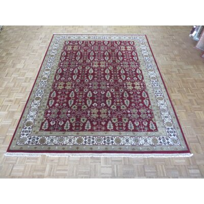 One-of-a-Kind Railey Hand-Knotted Wool Burgundy Area Rug