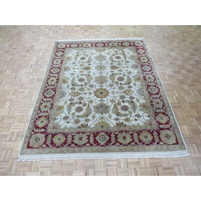 One-of-a-Kind Railey Hand-Knotted Wool Beige/Burgundy Area Rug