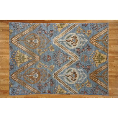 One-of-a-Kind Pellegrino Ikat Hand-Knotted Wool Light Blue Area Rug