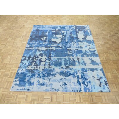 One-of-a-Kind Pellegrino Modern Abstract Hand-Knotted Wool Light Blue Area Rug