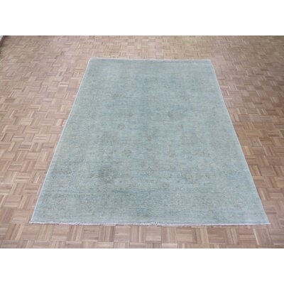 One-of-a-Kind Acord Oushak Hand-Knotted Wool Sky Blue Area Rug