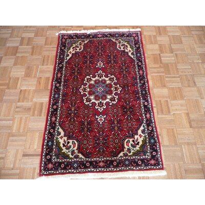 One-of-a-Kind Padro Antique Bijar Hand-Knotted Wool Red Area Rug