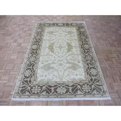 One-of-a-Kind Josephson Oushak Hand-Knotted Wool Ivory/Brown Area Rug
