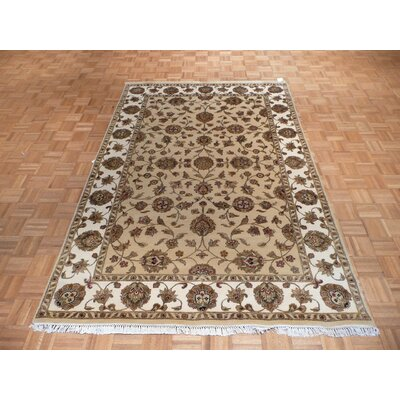 One-of-a-Kind Rhyne Hand-Knotted Gold Area Rug