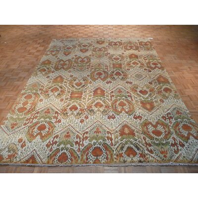 One-of-a-Kind Rhyne Ikat Hand-Knotted Wool Beige Area Rug