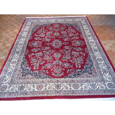 One-of-a-Kind Raines Hand-Knotted Rayon from Bamboo Silk Red Area Rug