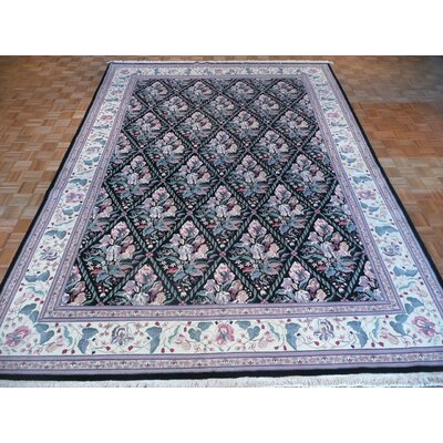 One-of-a-Kind Padro Hand-Knotted Rayon from Bamboo Silk Black Area Rug