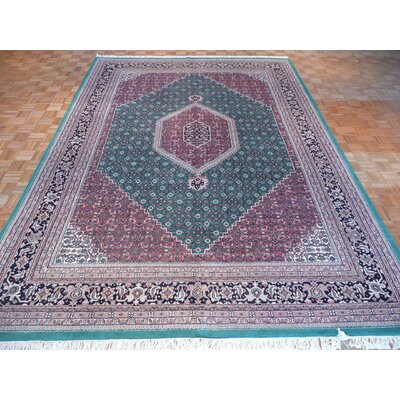 One-of-a-Kind Padro Bijar Hand-Knotted Wool Green Area Rug
