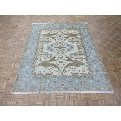One-of-a-Kind Rhyne Oushak Hand-Knotted Ivory/Sky Blue Area Rug