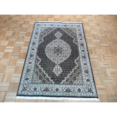One-of-a-Kind Raiden Hand-Knotted Black Area Rug Rug Size: Rectangle 4 x 511