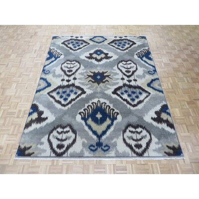 One-of-a-Kind Pellegrino Ikat Hand-Knotted Wool Gray Area Rug