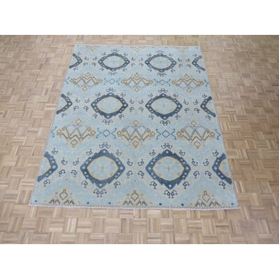 One-of-a-Kind Pellegrino Ikat Hand-Knotted Wool Soft Blue Area Rug