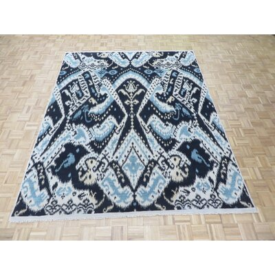 One-of-a-Kind Pellegrino Ikat Hand-Knotted Wool Black Area Rug