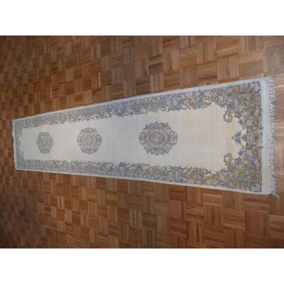 One-of-a-Kind Josephson Kirman Hand-Knotted Ivory Area Rug
