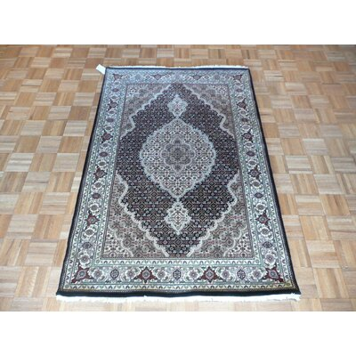 One-of-a-Kind Raiden Hand-Knotted Black Area Rug Rug Size: Rectangle 4 x 6