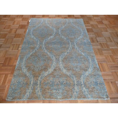 One-of-a-Kind Pellegrino Oushak Hand-Knotted Wool Soft Blue Area Rug