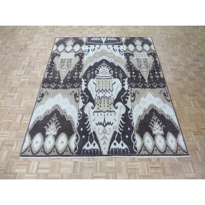 One-of-a-Kind Pellegrino Ikat Hand-Knotted Wool Brown Area Rug